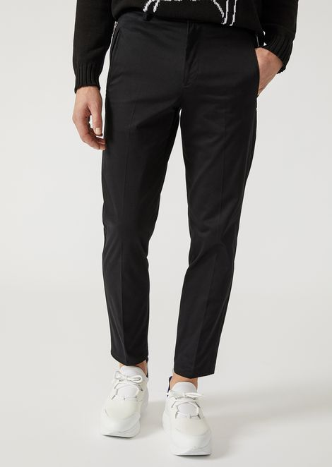 SLIM FIT TROUSERS IN VIRGIN WOOL BLEND for Men | Emporio Armani | Tuggl