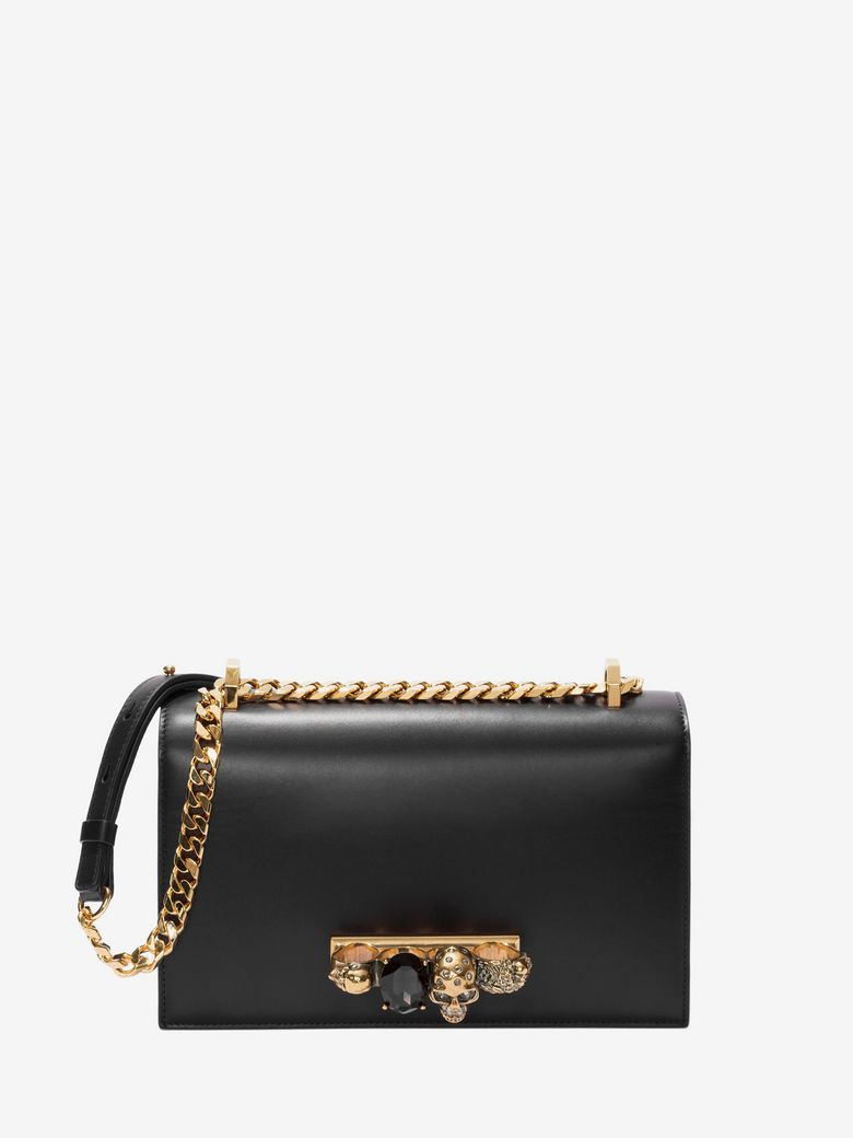 Jewelled Satchel Bag - Golden Hardware in Black