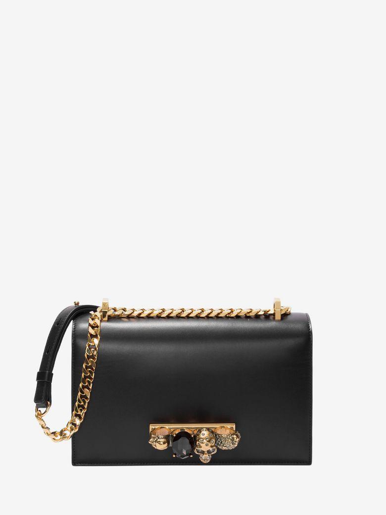 Jewelled Satchel Bag - Golden Hardware, Black