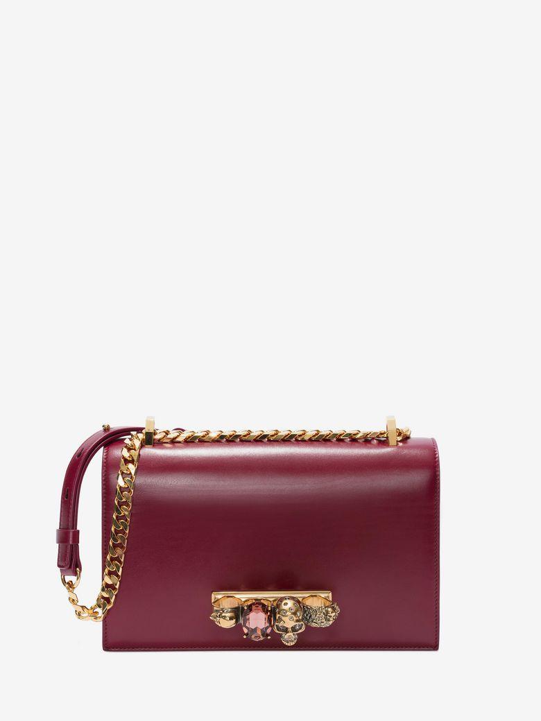 Jewelled Satchel Embellished Leather Shoulder Bag in Red