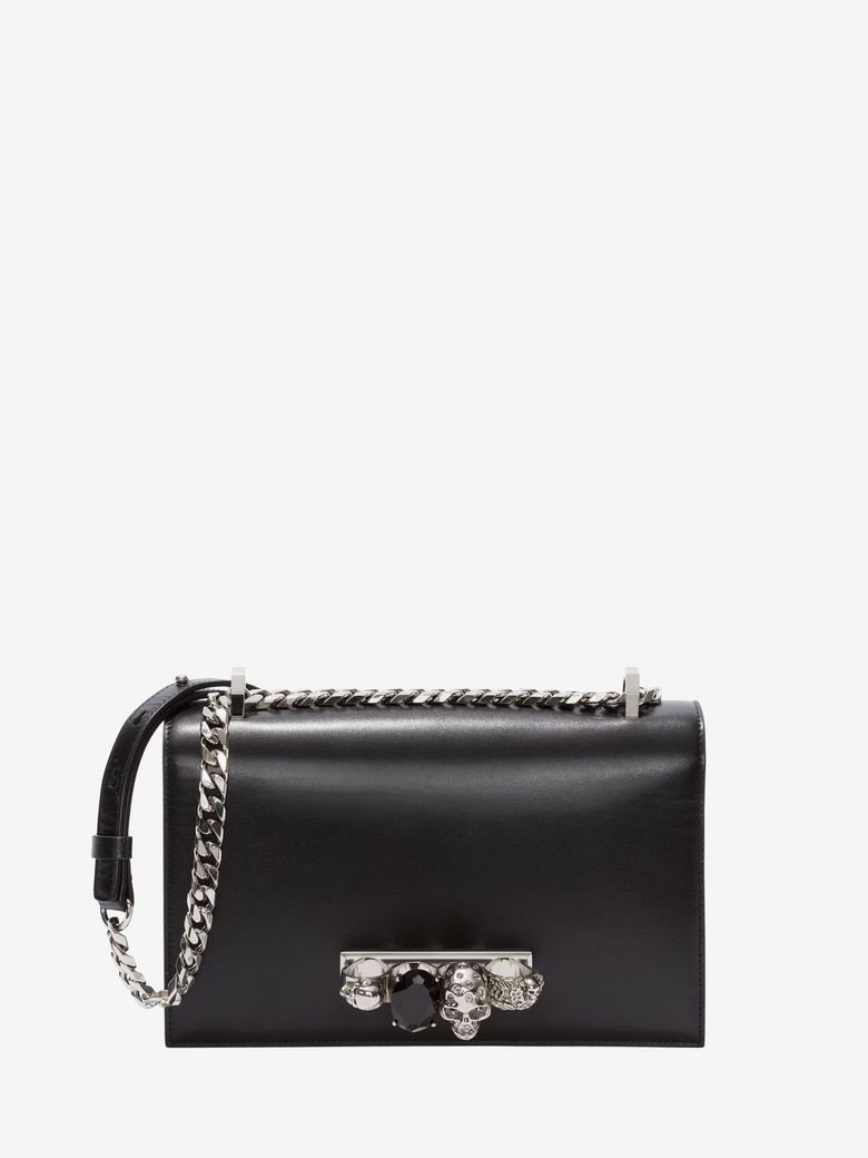 Jewelled Satchel Embellished Leather Shoulder Bag, Black