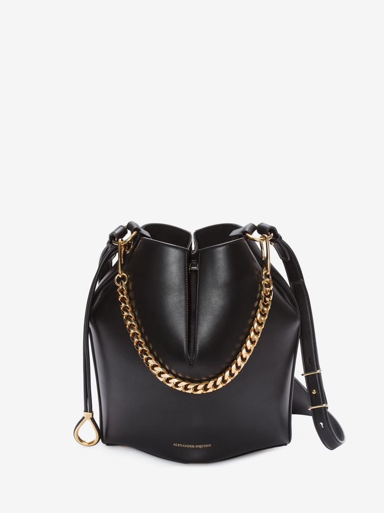 DUAL STRAP LEATHER BUCKET BAG