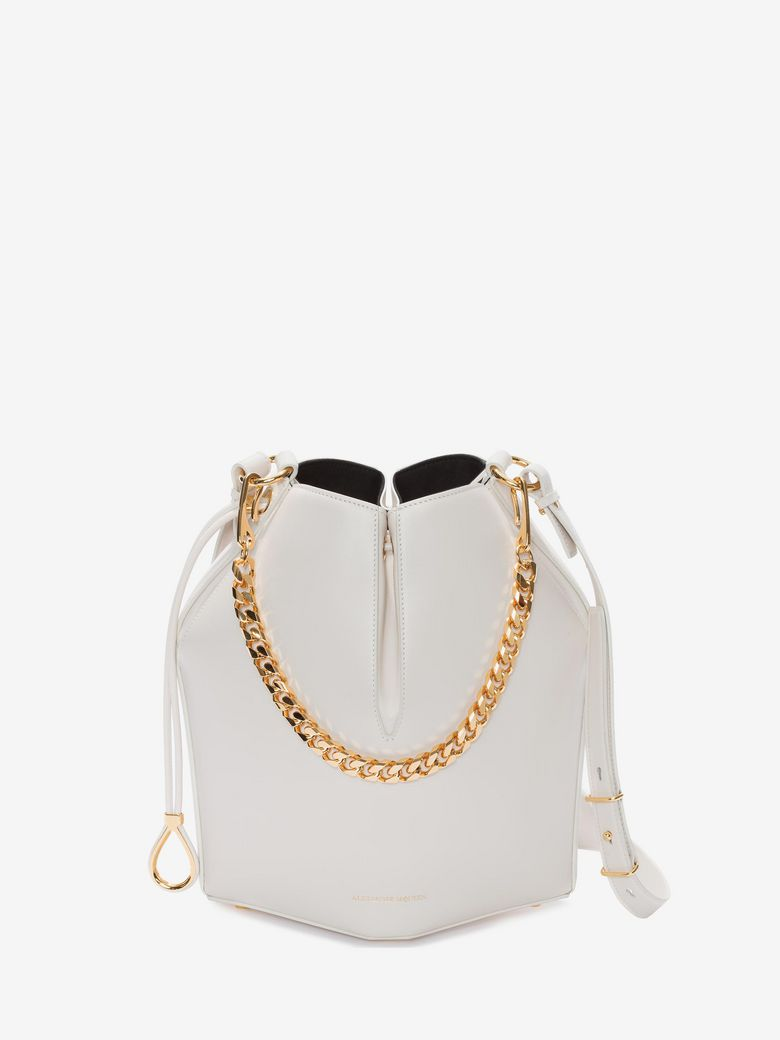 The Bucket Shiny Calf Shoulder Bag - Golden Hardware in White