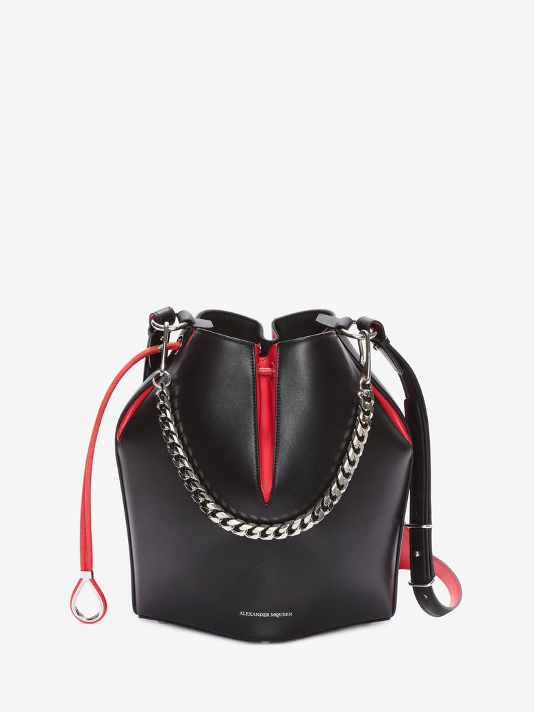The Bucket Shiny Calf Shoulder Bag - Silvertone Hardware in Black