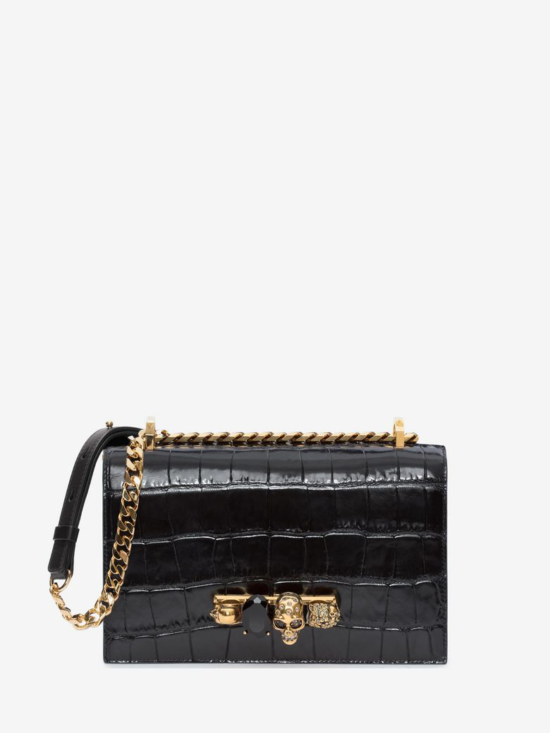Knuckle Embellished Croc-Effect Leather Shoulder Bag, Black