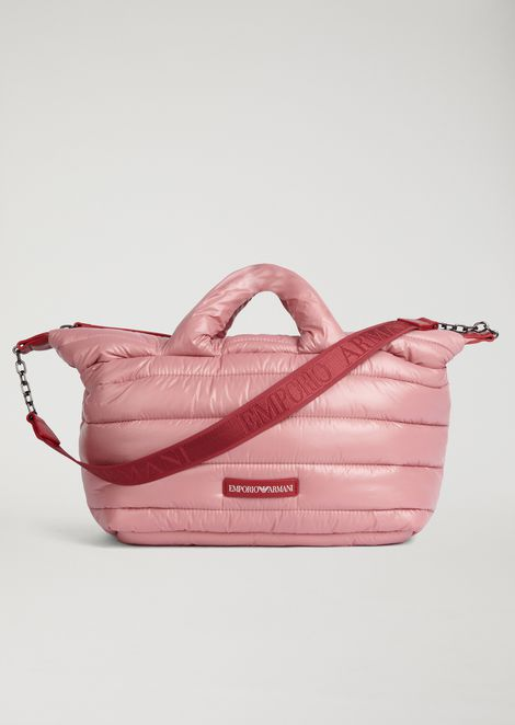 padded puffer bag with emporio armani logo shoulder strap woman