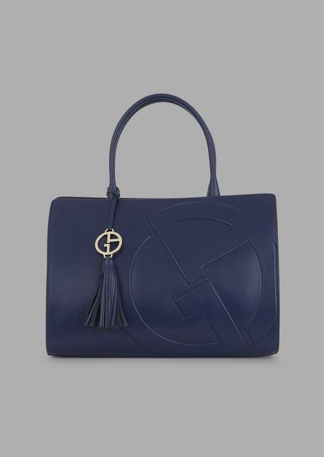 catch new arrival cute Cabas Hand Bag In Leather With Raised GA Logo for Women | Giorgio Armani
