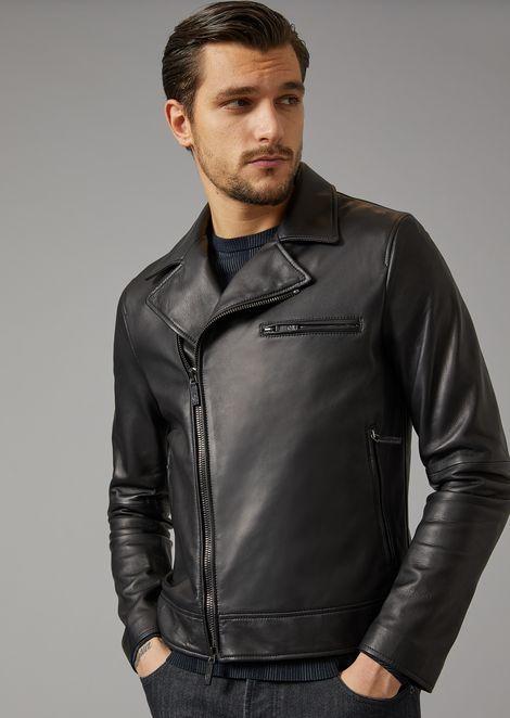 Plongé Nappa Leather Jacket for Men | Giorgio Armani | Tuggl