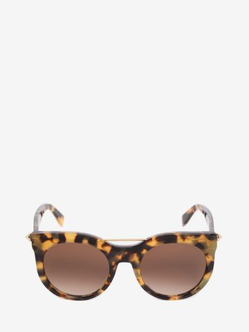 ALEXANDER MCQUEEN PIERCING BAR ROUND FRAME  Sunglasses D f