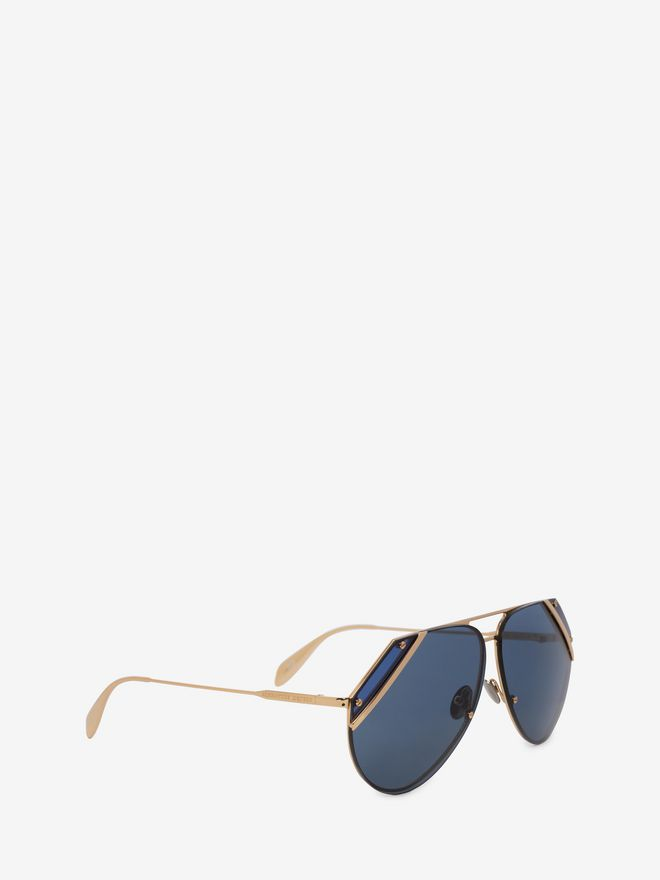 ALEXANDER MCQUEEN Cut Lens Pilot Frame Sunglasses E d