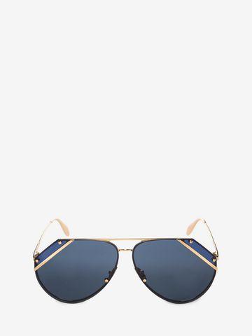 ALEXANDER MCQUEEN Cut Lens Pilot Frame Sunglasses E f