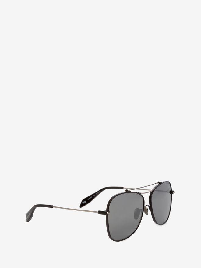 ALEXANDER MCQUEEN Piercing Square Pilot Frame Sunglasses E d