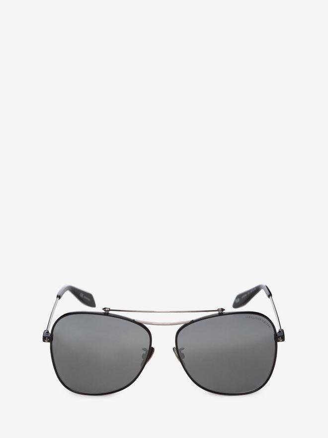 ALEXANDER MCQUEEN Piercing Square Pilot Frame Sunglasses E f