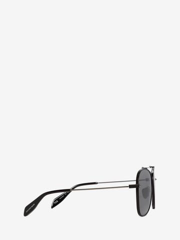 ALEXANDER MCQUEEN Piercing Square Pilot Frame Sunglasses E r