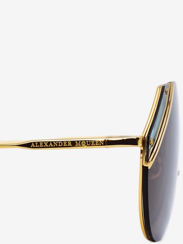 ALEXANDER MCQUEEN Cut Lens Pilot Frame Sunglasses E e