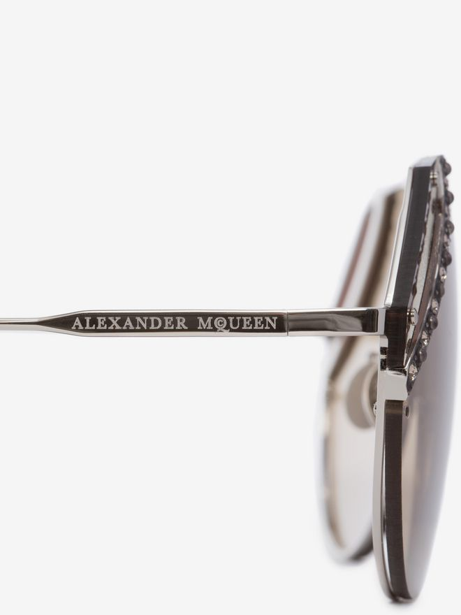 ALEXANDER MCQUEEN Jeweled Cut Lens Frame Sunglasses D e