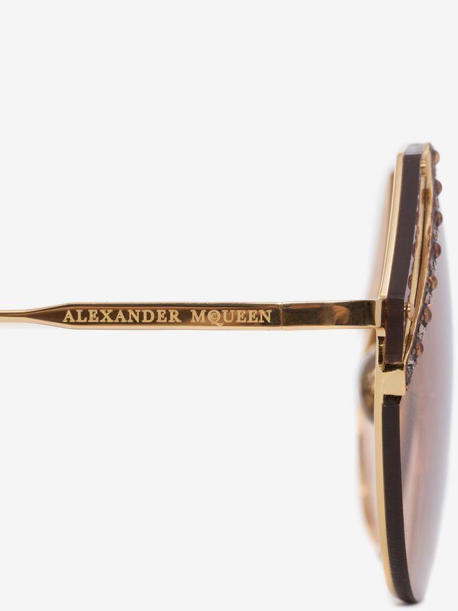 ALEXANDER MCQUEEN Jeweled Cut Lens Frame Sunglasses Woman e