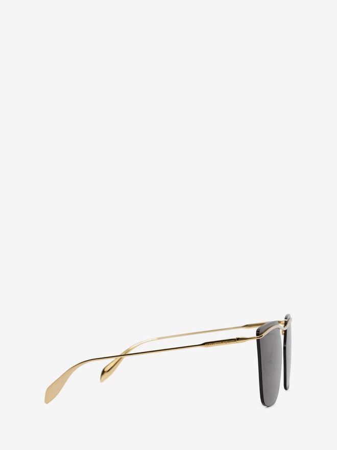 ALEXANDER MCQUEEN Sculpted Metal Bar Frame Sunglasses Woman r