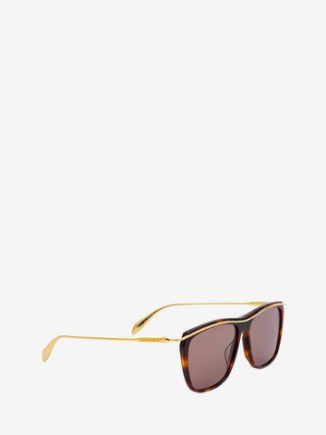 ALEXANDER MCQUEEN Sculpted Metal Bar Frame Sunglasses Woman d