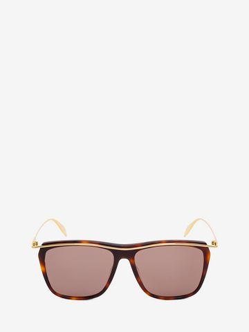 ALEXANDER MCQUEEN Sculpted Metal Bar Frame Sunglasses Woman f